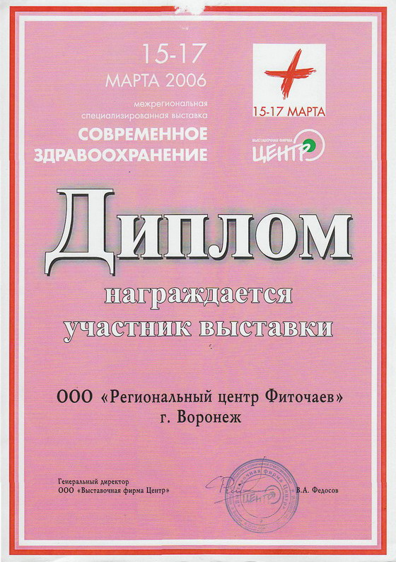 Diploma for participation in the exhibition Voronezh